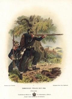 Солдаты 34-го померанского фузилёрного полка прусской армии в униформе образца 1870-х гг. Preussens Heer. Берлин, 1876