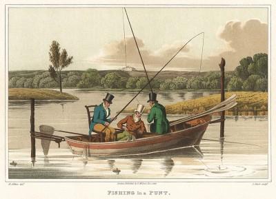 Рыбалка с лодки-плоскодонки. The National Sports of Great Britain by Henry Alken. Лондон, 1903