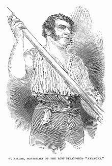 """Прославленный английский моряк Уильям Миллер (1802 -- 1848), служивший боцманом на деревянном колесном паровом фрегате британского флота """"Эвенджер"""", разбившемся в 1848 году у берегов Северной Африки (The Illustrated London News №300 от 29/01/1848 г.)"""