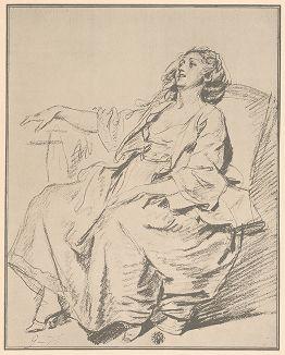 Молодая женщина, сидящая в кресле, 1765 г. Рисунок Жана-Батиста Грёза из собрания библиотеки Императорской Академии художеств.
