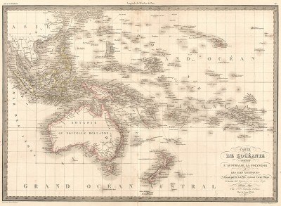 Карта Океании, включающая Австралию, Полинезию и острова Микронезии. Atlas universel de geographie ancienne et moderne..., л.38. Париж, 1842