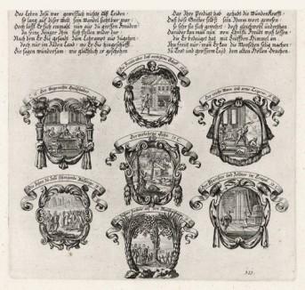 Семь сцен из Евангелия от Луки (из Biblisches Engel- und Kunstwerk -- шедевра германского барокко. Гравировал неподражаемый Иоганн Ульрих Краусс в Аугсбурге в 1700 году)