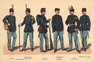Голландская пехота: музыканты в парадной форме, солдат в полевой форме, офицеры в повседневной и парадной формах одежды, ротный писарь