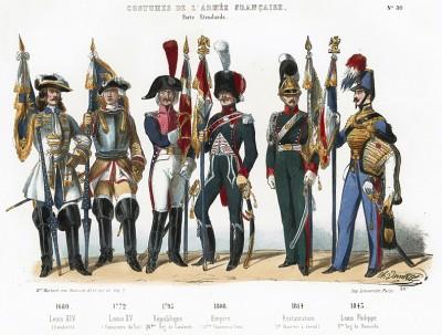 Униформа французской королевской гвардии с 1680 по 1843 гг. Costumes de l'armée française depuis Louis XIV, jusqu'à nos jours, л.30. Париж, 1841