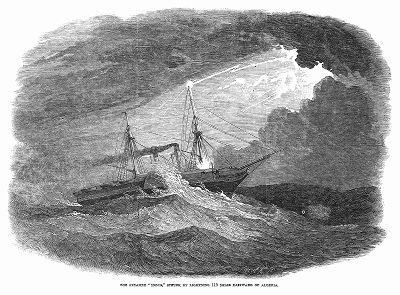 """Пароход крупной британской судоходной компании """"Пенинсула энд Ориентал"""", потерпевший кораблекрушение от удара молнии в шторм в 110 милях к востоку от побережья Алжира (The Illustrated London News №302 от 12/02/1848 г.)"""