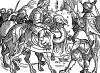 Караван в аравийской пустыне. Иллюстрация Йорга Бреу Старшего к описанию путешествия на восток Лодовико ди Вартема: Ludovico Vartoman / Die Ritterliche Reise. Издал Johann Miller, Аугсбург, 1515