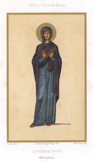 Святая Дева Мария. С миниатюры из императорской Библии X века (из Les arts somptuaires... Париж. 1858 год)
