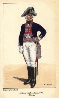 1790 г. Офицер гвардейского пехотного полка zu Fuss ландграфства Гессен-Дармштадт. Коллекция Роберта фон Арнольди. Германия, 1911-29