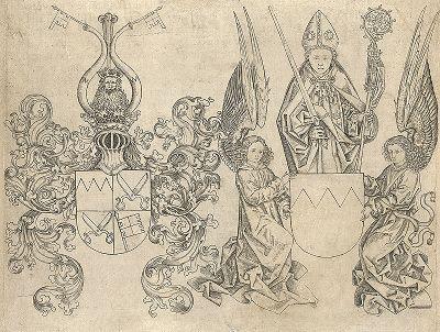 Гербы принца Рудольфа II фон Шеренберга, епископа Вюрцбурга. Лист из издания Würzburger Agenda,  1482 год.