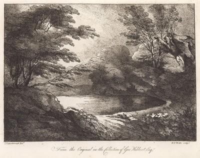 Лесное озеро. Гравюра с рисунка знаменитого английского пейзажиста Томаса Гейнсборо из коллекции Дж. Хибберта. A Collection of Prints ...of Tho. Gainsborough, Лондон, 1819.