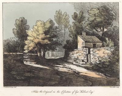 Сельские домики. Гравюра с рисунка знаменитого английского пейзажиста Томаса Гейнсборо из коллекции Дж. Хибберта. A Collection of Prints ...of Tho. Gainsborough, Лондон, 1819.
