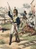 Рядовой в униформе мушкетёрского батальона фон Мулиуса королевства Вюртемберг образца 1799 г. Uniformenkunde Рихарда Кнотеля, часть 2, л.14. Ратенау (Германия), 1891