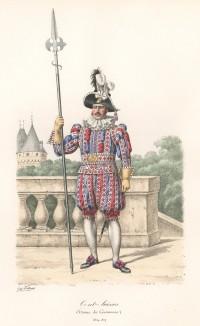 Церемониальная униформа швейцарской гвардии короля Франции образца 1814-17 годов. Histoire de la Maison Militaire du Roi de 1814 à 1830. Экз. №93 из 100, изготовлен для H.Fontaine. Том I, л.28. Париж, 1890