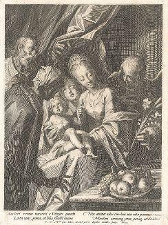 Святое семейство. Гравюра Эгидия Саделера по рисунку Ханса фон Аахена.