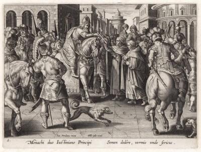 Два монаха-несторианца преподносят византийскому императору Юстиниану саженец, в котором сокрыта гусеница тутового шелкопряда. Vermis Sericus, лист 2, Антверпен, 1595 год.