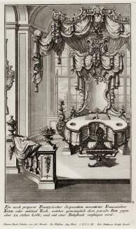 Французский письменный стол в будуаре знатной дамы эпохи pококо. Johann Jacob Schueblers Beylag zur Ersten Ausgab seines vorhabenden Wercks. Нюрнберг, 1730