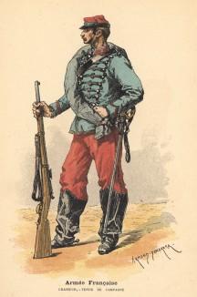 Спешенный конный егерь в полевой форме (из альбома литографий Armée française et armée russe, изданного в Париже в 1888 году)