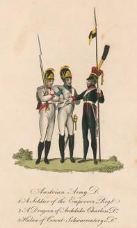 """Храбрые австрийцы в 1810-е гг.: 1. Солдат императорской гвардии 2. Драгун полка эрцгерцога Карла 3. Улан (из редкой работы """"Европейский военный костюм..."""", изданной в Лондоне в разгар наполеоновских войн)"""