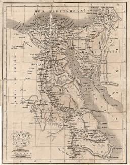 Карта Египта эпохи Египетской кампании генерала Бонапарта. Составил французский картограф Аристид Мишель Перро. J.-M. de Norvins, Histoire de Napoleon, т.1. Париж, 1829