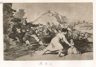 """Я сам это видел. Лист 44 из известной серии офортов знаменитого художника и гравёра Франсиско Гойи """"Бедствия войны"""" (Los Desastres de la Guerra). Представленные листы напечатаны в Мадриде с оригинальных досок около 1900 года."""