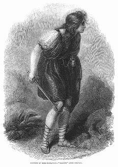 Имоджен -- героиня произведения Уильяма Шекспира, изображённая на ксилографии или гравюре на дереве, скопированной с полотна английского живописца и рисовальщика Ричарда Уэстола (1765 -- 1836) (The Illustrated London News №109 от 01/05/1844 г.)