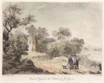 Пейзаж с крестьянским семейством, направляющимся к башне. Гравюра с рисунка знаменитого английского пейзажиста Томаса Гейнсборо из коллекции Дж. Лапорта. A Collection of Prints ...of Tho. Gainsborough, Лондон, 1819.
