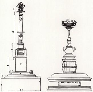 Триумфальная колонна и надгробие пьяницы (из Руководства к измерению при помощи циркуля и линейки плоскостей и обьёмов от Альбрехта Дюрера, посвящённого всем любителям искусства)