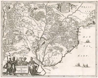 Карта Парагвая. Paraquaria vulgo Paraguay cum adjacentibus (лат.). Составил Джон Огилби. Амстердам, 1671