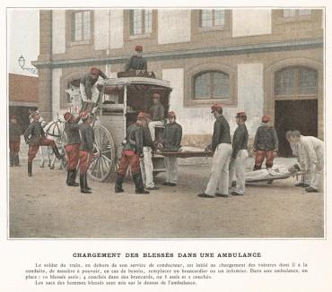 Тренировка санитаров и карет скорой помощи. L'Album militaire. Livraison №5. Genie & train des еquipages. Париж, 1890