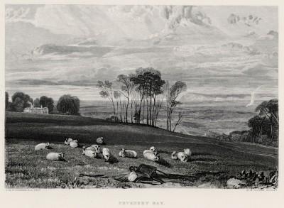"""Бухта Певенси-Бей (лист из альбома """"Галерея Тёрнера"""", изданного в Нью-Йорке в 1875 году)"""