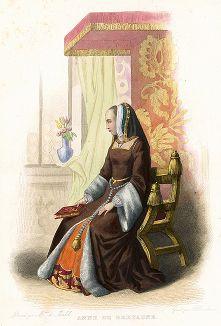 Анна Бретонская (1477-1514) - королева Франции, богатейшая женщина своего времени. Лист из серии Le Plutarque francais..., Париж, 1844-47 гг.