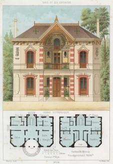 Дом современной эклектичной архитектуры с росписью и цветами на балконе второго этажа (из популярного у парижских архитекторов 1880-х Nouvelles maisons de campagne...)