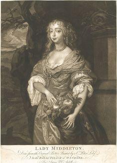 """Леди Джейн Мидлтон (1645-1692) - знаменитая красавица эпохи Реставрации. Меццо-тинто одного из лучших английских мастеров Джеймса Мак-Арделла с оригинала ведущего портретиста XVII века Питера Лели из серии """"Виндзорские красавицы""""."""