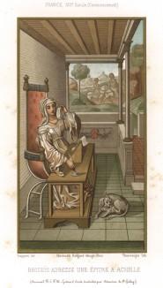 Бризеида, дочь Бризея из Лирнеса и причина ссоры между Ахиллом и Агамемноном, пишет письмо Ахиллу, захватившему её в плен (из Les arts somptuaires... Париж. 1858 год)