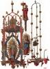 """Изящные люстры и подсвечники для восковых свечей, изготовленные для знаменитого в XV веке отеля города Люнебурга, или """"солёного города"""" (из Les arts somptuaires... Париж. 1858 год)"""