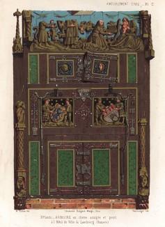 Готический дубовый шкаф из роскошного интерьера отеля в Люнебурге (из Les arts somptuaires... Париж. 1858 год)