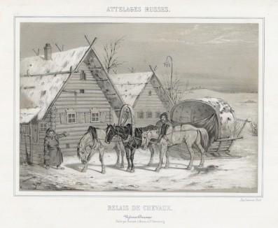 Отдых лошадей после зимней дороги