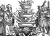 Принесение жертв в Калькутте. Иллюстрация Йорга Бреу Старшего к описанию путешествия на восток Лодовико ди Вартема: Ludovico Vartoman / Die Ritterliche Reise. Издал Johann Miller, Аугсбург, 1515