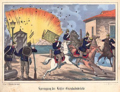 Франко-прусская война 1870-71 гг. Город Кель. Взрыв моста через Рейн на прусско-германской границе. Редкая немецкая литография