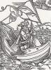 """Дурак на тонущем корабле (иллюстрация к главе 109 книги Себастьяна Бранта """"Корабль дураков"""", гравированная Дюрером в 1494 году)"""
