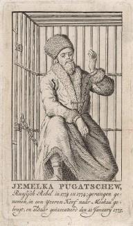 Крестьянская война 1773-75 гг. Емелька Пугачёв, удачливый самозванец, в стальной клетке и кандалах в Москве в 1775 году. Гравюра, выполненная в Голландии в конце XVIII в.