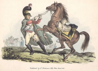Французский карабинер. Редкая литография Карла Верне. Лондон, 1820