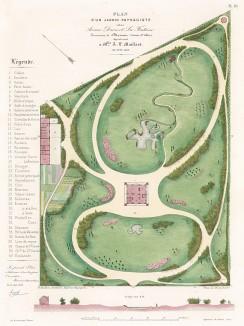 Общий план парка в имении мадмуазель Майяр в округе Версаль. F.Duvillers, Les parcs et jardins, т.I, л.18. Париж, 1871