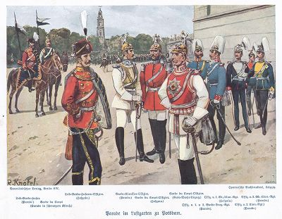 Офицеры прусской гвардейской кавалерии (лейб-гусар, конногвардеец, кирасир, кавалергард, драгуны,  конногвардеец, кирасир, кавалергард, драгуны и уланы) перед парадом в парке Люстгартен близ Потсдама в 1890- е гг.