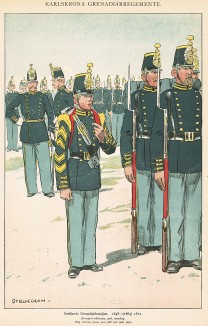 Солдаты гренадерского батальона Småland в униформе образца 1858-72 гг. Svenska arméns munderingar 1680-1905. Стокгольм, 1911