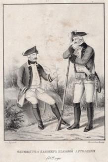 Историческое описание одежды и вооружения российских войск... А. В. Висковатова. Сержант и канонир полевой артиллерии 1762 года (лист 406)