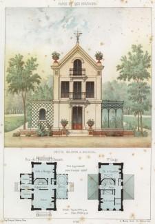 Маленький загородный домик с зимним садом в Буживале (пригород Парижа) (из популярного у парижских архитекторов 1880-х Nouvelles maisons de campagne...)