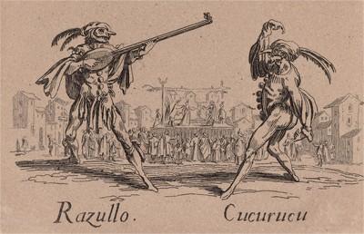 """Рацулло и Кукареку (Razullo - Cucurucu). Из цикла офортов конца 19 века, выполненного по серии гравюр Жака Калло """"Balli Di Sfessania"""" (Танцы беззадых (бескостных)), в которой он изобразил персонажей итальянской """"Комедии дель Арте"""""""