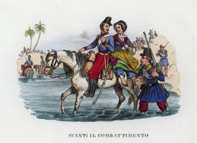 Вперёд в бой! (иллюстрация к L'Africa francese... - хронике французских колониальных захватов в Северной Африке, изданной во Флоренции в 1846 году)