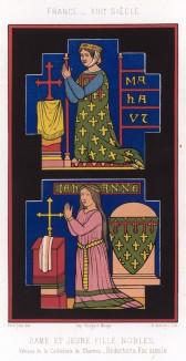 Витраж Шартрского собора, изображающий молитву благородной дамы в гербовом платье и её юную дочь в камизе, подпоясанной поясом - символом непорочности (из Les arts somptuaires... Париж. 1858 год)